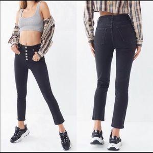 BDG Highrise Girlfriend Black Button Front Jeans